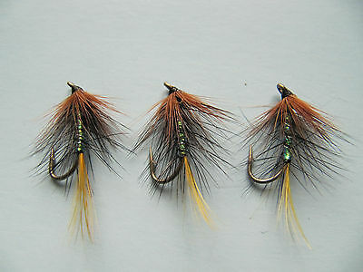 3 X PEARLY KATE MCLAREN WET TROUT FLIES, Sizes 8,10, 12,14, 16 Available • 1.30£