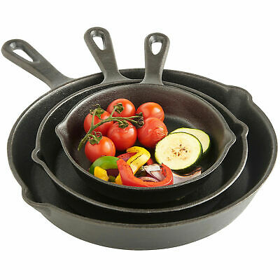 3PCS Cast Iron Non Stick Frying Pan Pre Seasoned BBQ Griddle Skillet Grill Set • 18.59£