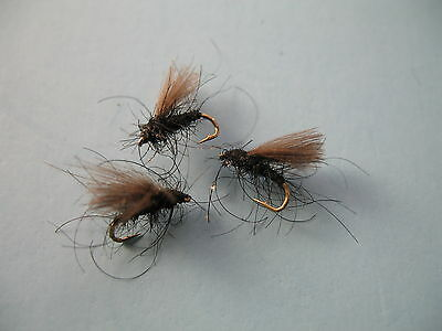 3 X CDC BLACK MIDGE DRY TROUT FLY Sizes 10,12,14,16,18  Available • 1.35£