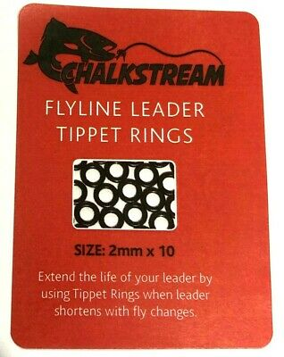 CHALKSTREAM  Fly Line Leader TIPPET RINGS 2mm, 2.5mm & 3.7mm.1st Class Post • 2.29£
