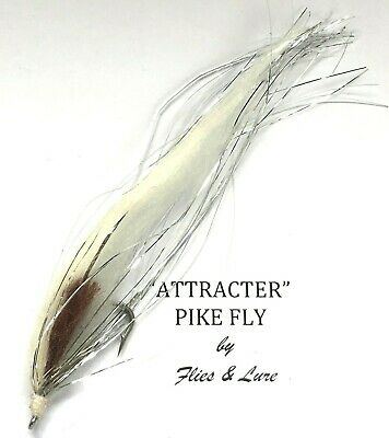 2,4 Or 6 ATTRACTER Pike Fishing Flies  WHITE GHOST Choose Hook Size • 4.99£