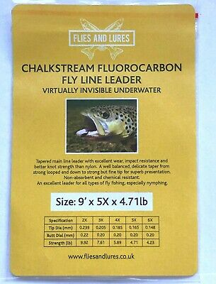 Chalkstream  Fluorocarbon 9' Fly Line Tapered Leader 7 Sizes.TIPPET RING OFFER • 3.95£