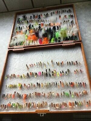 Vintage Wooden Handmade Fly Box  With 330+ Hand Tied Trout Flies • 46£
