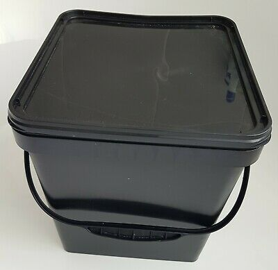 17 L Ltr Litre Black Square Plastic Bucket Container W Lid & Plastic Handle • 8.09£