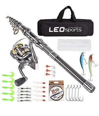 LEO® Telescopic Fishing Rod 2.1M And Reel Combos With Full Kits And Carrier Bag • 65£