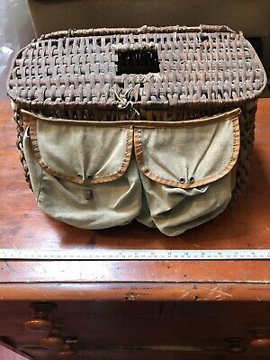 Original Vintage Creel  Wicker Fishing Basket With Strap Canvas Pockets CC • 25£