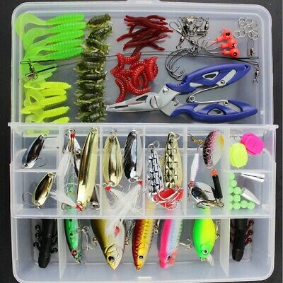 101Pcs/Set Fishing Lures HooksTackle Spinners Plugs Soft Bait Pike Trout Salmon • 14.29£