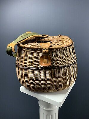 Vintage Wicker Creel Fishing Basket • 65£