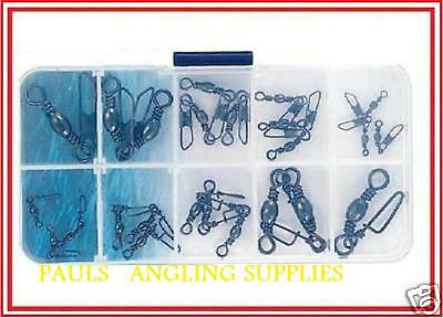 Sea Fishing Assorted Snap Swivels In Tackle Box Ass1 • 6.70£