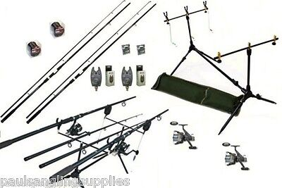 Carp Fishing Set Kit 2 Rods 2 Reels 2 Alarms Rod Pod + More • 135.54£