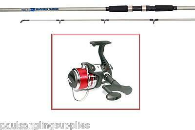 Shakespeare  Mackerel Feather Spin Rod Max Fishing Reel 10ft 4-6oz + 5 Feathers • 52.76£