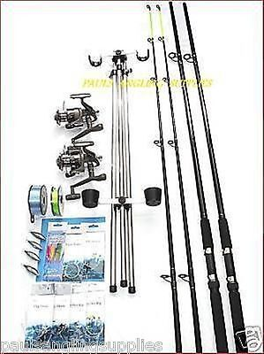 Sea Fishing Beachcaster Kit *14 FT* Rods Reels Tripod  Weights Tackle Rigs  • 133.34£