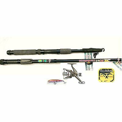12ft TELESCOPIC FISHING ROD AND REEL SET FOR PIKE OR SEA FISHING KIT/COMBO • 20.33£