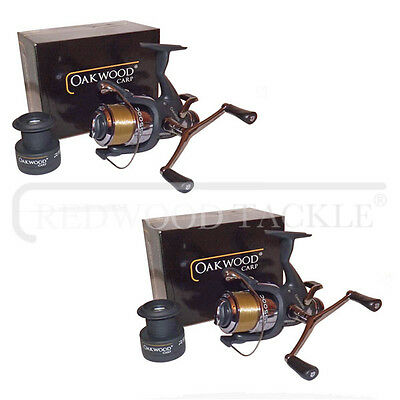 NEW Double Handle Deluxe Oakwood Carp BTR/Free Spool Fishing Reel & Line X 2 • 29.82£