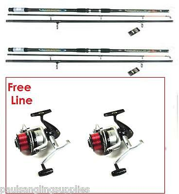 Ocean Cast 14ft  Beach Sea Fishing Rods & SX 70 Reels Free Red Line • 80.80£