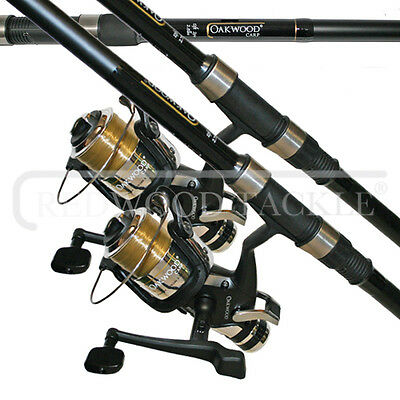 2 X Carp Stalker Fishing Rods 10ft & 2 Oakwood B,t,r Coarse Fishing Reels + Line • 58.44£