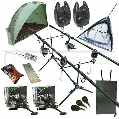 Full Carp Fishing Set Up Kit Rods Reels Alarms & Tackle Mat  & Shelter  • 126.59£