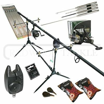 Carp Fishing Starter Set Up Kit Rod Reel Alarm Rod Pod Bait Tools & Tackle • 72.62£