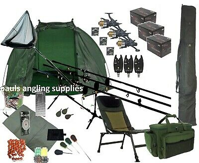 3 Rod Mega Carp Fishing Set Up Kit Rods Reels Chair Rod Bag Tackle Mat  P16  • 269.95£