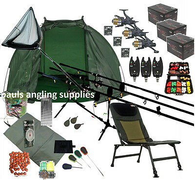 3 Shakespeare Rod  Carp Fishing Set Up Kit Reels Chair Alarms Bait Tackle Mat   • 227.73£