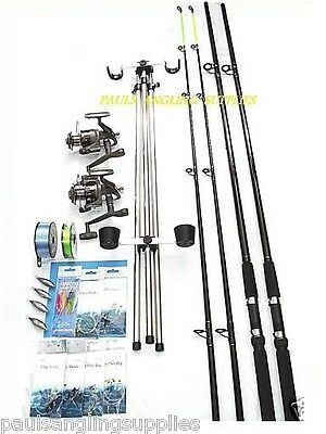 Sea Fishing Kit Shakespeare 12ft Beta Rods And Omni  Reels Beach Fishing Combo  • 126£