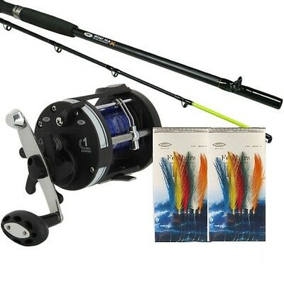 NGT Boat 6 Ft Max Sea Fishing Rod & LS3000 Multiplier Reel  +Line With Feathers • 39.29£