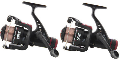 2 X NGT CKR CARP COARSE FLOAT FEEDER FISHING REELS  WITH LINE • 21.70£