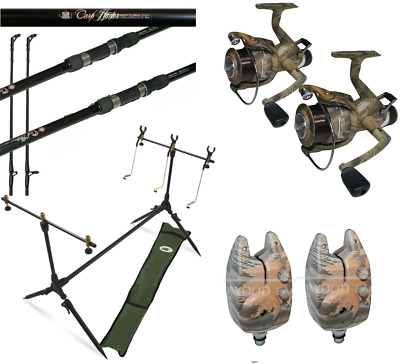 Camo Carp Fishing Set Up 2 X 12ft Carp Rods + 2 X Carp Reels + 2 X Alarms + Pod • 103.01£