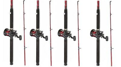 4 X  Fladen Red  Boat Fishing Rod + Multiplier Reel With Red  Line • 132.77£