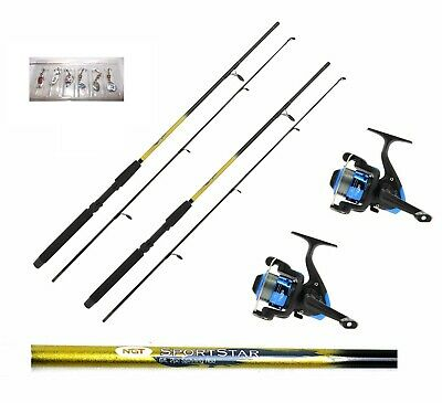 2 X 6FT Sportstar 2PC Spinning Fishing Rods And Reels + Lures Trout,sea Fishing • 38.19£