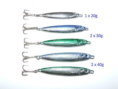 5 X 20g 30g 40g Mackerel Bass Cod Pike Spinners Treble Hooks Boat Pier Fishing • 7.49£