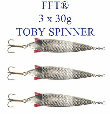 3 X FFT Toby 30g Spinner Lure Mackerel Bass Cod Pike Sea Fishing Treble Hooks • 3.99£