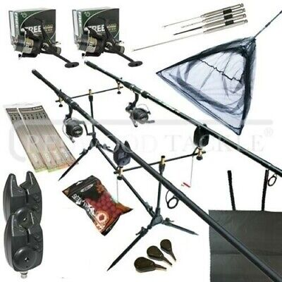 Full Carp Fishing Set Up Complete 10ft 3pc Rods Reels Alarms Net Bait Tackle • 118.38£