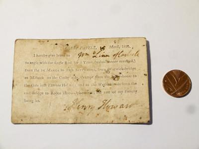1811 Henry Howard Corby Castle Rod Fishing Licence Permit On 6 Spades Card #CCA • 255£