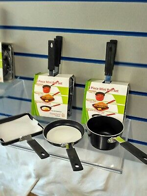3 Piece Pan Set.for Camping Hiking.fishing. Black Or Red.non Stick. £7set Of 3 • 7£