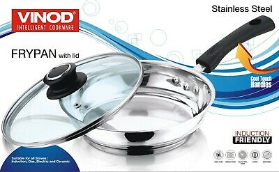 VINOD Stainless Steel Induction Frypan Vented Glass Lid Saucepan Saute 20cm 24cm • 19.97£