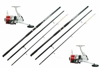 2 X 14 FT Beach Casting Sea Fishing Rods Reels  SilK 70 Reels Ocean Cast Rods • 83.92£