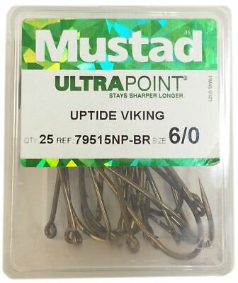 Mustad Ultra Point 79515 Uptide Viking Sea Fishing Hooks - Box Of 25 - All Sizes • 6.99£