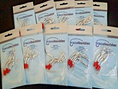Mackerel Feathers 10 X  Silver Tinsella Traces-2/0 Hooks-4 Hook Rigs.**** • 7.99£