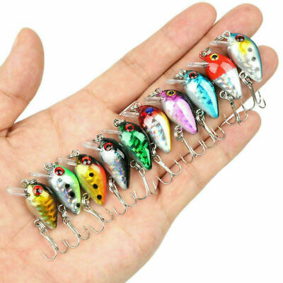 10PC Fishing Baits Hooks Minnow Fish Lures Crank Bass Crankbaits Tackle Sinking • 4.97£