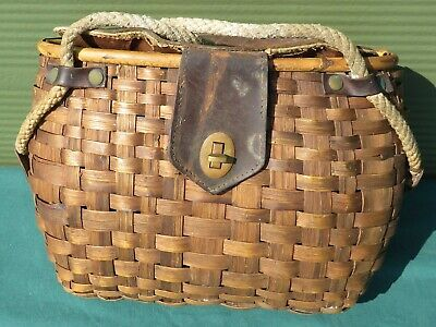 Vintage Wicker Wicker & Leather Fishing Creel Bag Basket • 75£