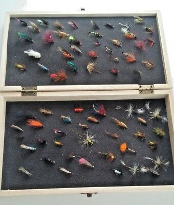 Two Wooden Boxes Fly Fishing Tackle Flies Trout Salmon (flies Not Included )   • 19.96£
