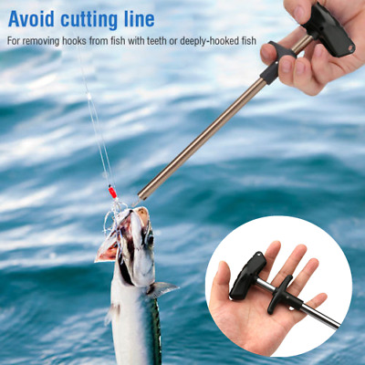 Easy Fish Hook Remover Puller Fishing Tool T-Handle Extractor Tackles Detacher • 5.99£