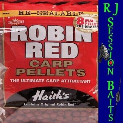 Dynamite Baits Robin Red Pre-Drilled 8mm Session Pack Of Approx 100 Pellets • 1.95£