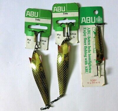 7 Vintage Abu Toby And 1 Abu Droppen Fishing Lures With Original Packaging. • 16£