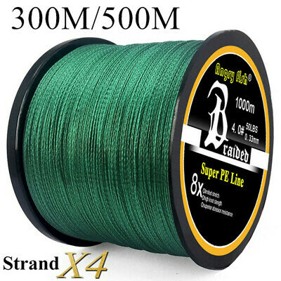 Super Strong PE Braided Fishing Line 4 Strands 300/500M 12-100LB Fishing Wire. • 6.98£
