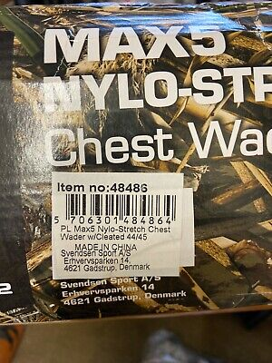 Pro Logic Camo Max 4 Nylon Stretch Chest Waders Cleated Soles 44/45 UK 10/10.5 • 38£