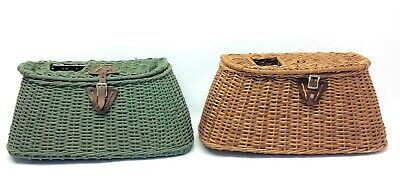 Vintage Used Fly Fishing Creels Wicker Baskets Containers Storage • 97.26£