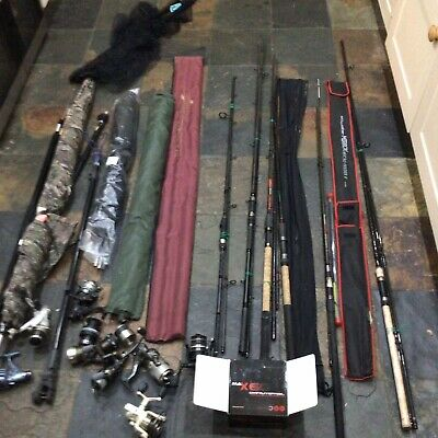 Fishing Tackle 7 Rods 8 Reels 2 Umbrellas And Nets • 52£