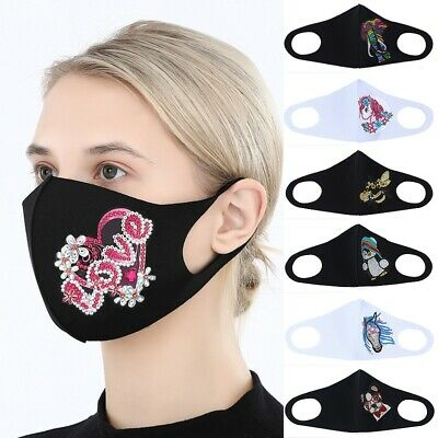 DIY Face Mask Rhinestone Diamond Face Cover Adults Face Shield Cover Protection • 3.90£
